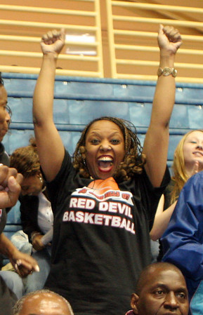 Tonya Sanford-Oliver cheering for Druid Hills High at tonights basketball game