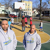 Albert Ortiz and Ishmael Tabales the two coaches for the Central MA Warriors, a new AAU basketball team, watched over the kids at the Green Street Park as they play some basketball on Wednesday afternoon. SENTINEL & ENTERPRISE/JOHN LOVE
