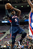 Feb 25, 2013; Auburn Hills, MI, USA; Atlanta Hawks small forward Josh Smith (5) goes to the basket during the first quarter against the Detroit Pistons at The Palace. Mandatory Credit: Tim Fuller-USA TODAY Sports