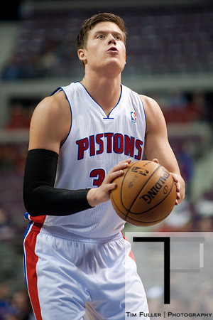 Feb 25, 2013; Auburn Hills, MI, USA; Detroit Pistons power forward Jonas Jerebko (33) shoots a free throw during the game against the Atlanta Hawks at The Palace. Atlanta won 114-103. Mandatory Credit: Tim Fuller-USA TODAY Sports