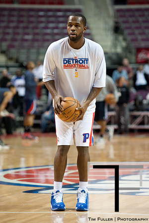 Feb 25, 2013; Auburn Hills, MI, USA; Detroit Pistons point guard Rodney Stuckey (3) warms up before the game against the Atlanta Hawks at The Palace. Mandatory Credit: Tim Fuller-USA TODAY Sports