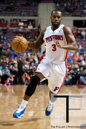 Feb 25, 2013; Auburn Hills, MI, USA; Detroit Pistons point guard Rodney Stuckey (3) during the third quarter against the Atlanta Hawks at The Palace. Atlanta won 114-103. Mandatory Credit: Tim Fuller-USA TODAY Sports