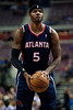 Feb 25, 2013; Auburn Hills, MI, USA; Atlanta Hawks small forward Josh Smith (5) shoots a free throw during the first quarter against the Detroit Pistons at The Palace. Mandatory Credit: Tim Fuller-USA TODAY Sports