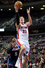 Feb 25, 2013; Auburn Hills, MI, USA; Detroit Pistons power forward Jonas Jerebko (33) during the fourth quarter against the Atlanta Hawks at The Palace. Atlanta won 114-103. Mandatory Credit: Tim Fuller-USA TODAY Sports