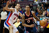 Feb 25, 2013; Auburn Hills, MI, USA; Atlanta Hawks point guard Jeff Teague (0) drives to the basket while being pressured by Detroit Pistons point guard Jose Calderon (8) during the second quarter at The Palace. Mandatory Credit: Tim Fuller-USA TODAY Sports