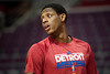 Feb 25, 2013; Auburn Hills, MI, USA; Detroit Pistons point guard Brandon Knight (7) before the game against the Atlanta Hawks at The Palace. Mandatory Credit: Tim Fuller-USA TODAY Sports