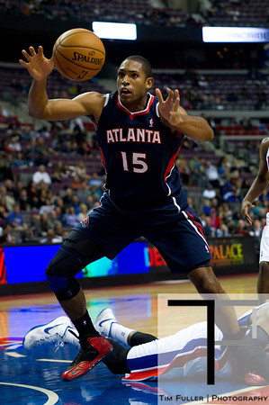Oct 26, 2012; Auburn Hills, MI, USA; Atlanta Hawks power forward Al Horford (15) grabs a loose ball during the second quarter against the Detroit Pistons at The Palace. Mandatory Credit: Tim Fuller-US PRESSWIRE