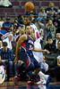 Oct 26, 2012; Auburn Hills, MI, USA; Atlanta Hawks point guard Devin Harris (34) and Detroit Pistons center Greg Monroe (10) watch a loose ball during the first quarter at The Palace. Mandatory Credit: Tim Fuller-US PRESSWIRE
