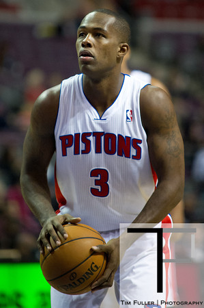 Oct 26, 2012; Auburn Hills, MI, USA; Detroit Pistons point guard Rodney Stuckey (3) shoots a free throw during the fourth quarter against the Atlanta Hawks at The Palace. Detroit won 104-88. Mandatory Credit: Tim Fuller-US PRESSWIRE