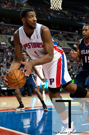 Oct 26, 2012; Auburn Hills, MI, USA; Detroit Pistons power forward Andre Drummond (1) saves the ball from going out of bounds during the third quarter against the Atlanta Hawks at The Palace. Detroit won 104-88. Mandatory Credit: Tim Fuller-US PRESSWIRE