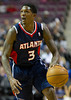 Oct 26, 2012; Auburn Hills, MI, USA; Atlanta Hawks shooting guard Louis Williams (3) brings the ball up court during the game against the Detroit Pistons at The Palace. Mandatory Credit: Tim Fuller-US PRESSWIRE