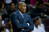 Oct 26, 2012; Auburn Hills, MI, USA; Atlanta Hawks head coach Larry Drew during the second quarter against the Detroit Pistons at The Palace. Mandatory Credit: Tim Fuller-US PRESSWIRE