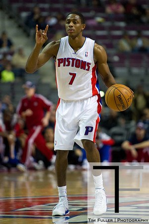 Oct 26, 2012; Auburn Hills, MI, USA; Detroit Pistons point guard Brandon Knight (7) calls out a play during the third quarter against the Atlanta Hawks at The Palace. Detroit won 104-88. Mandatory Credit: Tim Fuller-US PRESSWIRE