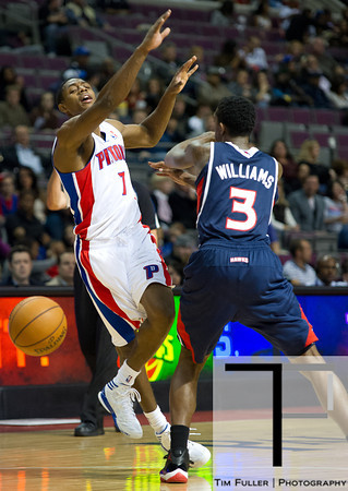 Oct 26, 2012; Auburn Hills, MI, USA; Detroit Pistons point guard Brandon Knight (7) looses the ball while being pressured by Atlanta Hawks shooting guard Louis Williams (3) during the game at The Palace. Detroit won 104-88. Mandatory Credit: Tim Fuller-US PRESSWIRE