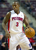 Oct 26, 2012; Auburn Hills, MI, USA; Detroit Pistons point guard Rodney Stuckey (3) during the game against the Atlanta Hawks at The Palace. Detroit won 104-88. Mandatory Credit: Tim Fuller-US PRESSWIRE