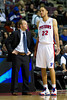 Oct 26, 2012; Auburn Hills, MI, USA; Detroit Pistons head coach Lawrence Frank (left) talks to small forward Tayshaun Prince (22) during the fourth quarter at The Palace. Detroit won 104-88. Mandatory Credit: Tim Fuller-US PRESSWIRE