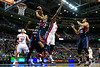 Oct 26, 2012; Auburn Hills, MI, USA; Atlanta Hawks point guard Devin Harris (34) grabs a rebound over Detroit Pistons power forward Jason Maxiell (54) during the fourth quarter at The Palace. Detroit won 104-88. Mandatory Credit: Tim Fuller-US PRESSWIRE