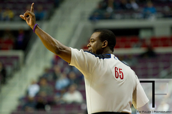 Oct 26, 2012; Auburn Hills, MI, USA; NBA referee Sean Wright (65) during the game between the Detroit Pistons and the Atlanta Hawks at The Palace. Detroit won 104-88. Mandatory Credit: Tim Fuller-US PRESSWIRE
