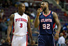 Oct 26, 2012; Auburn Hills, MI, USA; Detroit Pistons point guard Rodney Stuckey (3) and Atlanta Hawks shooting guard DeShawn Stevenson (92) during the second quarter at The Palace. Detroit won 104-88. Mandatory Credit: Tim Fuller-US PRESSWIRE