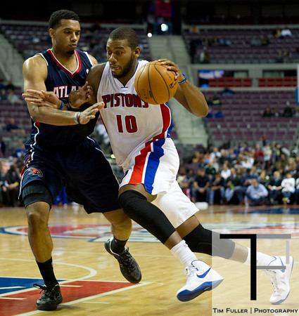 Oct 26, 2012; Auburn Hills, MI, USA; Detroit Pistons center Greg Monroe (10) drives to the basket against the Atlanta Hawks during the fourth quarter at The Palace. Detroit won 104-88. Mandatory Credit: Tim Fuller-US PRESSWIRE