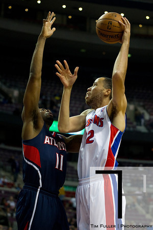 Oct 26, 2012; Auburn Hills, MI, USA; Atlanta Hawks shooting guard James Anderson (11) attempts to block Detroit Pistons small forward Tayshaun Prince (22) during the fourth quarter at The Palace. Detroit won 104-88. Mandatory Credit: Tim Fuller-US PRESSWIRE