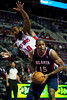 Oct 26, 2012; Auburn Hills, MI, USA; Detroit Pistons center Greg Monroe (10) fouls Atlanta Hawks power forward Al Horford (15) during the first quarter at The Palace. Mandatory Credit: Tim Fuller-US PRESSWIRE