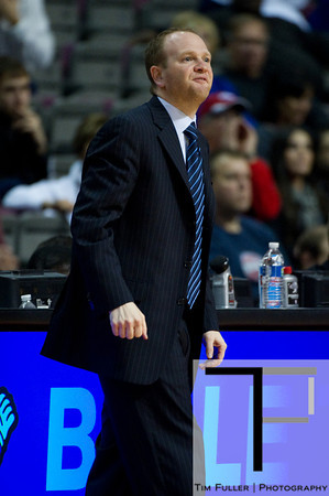 Oct 26, 2012; Auburn Hills, MI, USA; Detroit Pistons head coach Lawrence Frank during the second quarter against the Atlanta Hawks at The Palace. Mandatory Credit: Tim Fuller-US PRESSWIRE