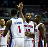 Oct 26, 2012; Auburn Hills, MI, USA; Detroit Pistons power forward Andre Drummond (1) high fives Detroit Pistons center Greg Monroe (10) during the third quarter against the Atlanta Hawks at The Palace. Detroit won 104-88. Mandatory Credit: Tim Fuller-US PRESSWIRE