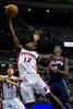 Oct 26, 2012; Auburn Hills, MI, USA; Detroit Pistons point guard Will Bynum (12) lays it up against the Atlanta Hawks during the fourth quarter at The Palace. Detroit won 104-88. Mandatory Credit: Tim Fuller-US PRESSWIRE