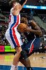 Oct 26, 2012; Auburn Hills, MI, USA; Atlanta Hawks small forward Josh Smith (5) runs into Detroit Pistons power forward Jonas Jerebko (33) during the second quarter at The Palace. Mandatory Credit: Tim Fuller-US PRESSWIRE