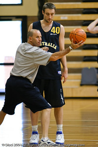 Head Coach Brian Goorjian works with David Stiff - Boomers' Basketball - Public Pre-Olympic  Training Session, 29 May 2004; Gold Coast, Queensland, Australia.