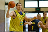 Paul Rogers catches the ball in the low post - Boomers' Basketball - Public Pre-Olympic  Training Session, 29 May 2004; Gold Coast, Queensland, Australia.