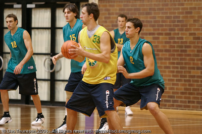 Jason Smith, Andrew Bogut, Mathew Nielsen, Daniel Kickert, Glen Saville - Five on Five Scrimmage time - Boomers' Basketball - Public Pre-Olympic  Training Session, 29 May 2004; Gold Coast, Queensland, Australia.