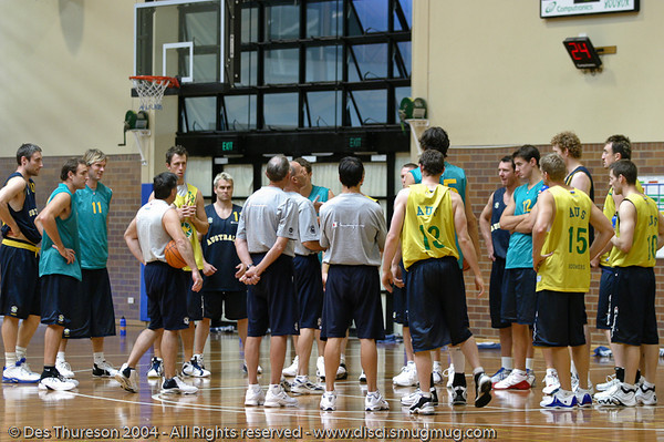 Head Coach Brian Goorjian addresses the troops - Boomers' Basketball - Public Pre-Olympic  Training Session, 29 May 2004; Gold Coast, Queensland, Australia.