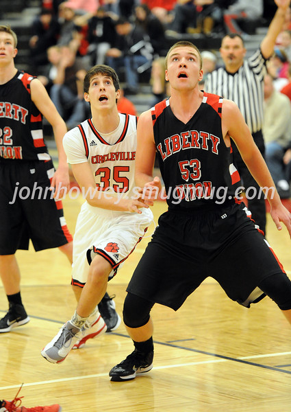 High School Basketball<br /> Circleville 75, Liberty Union 49<br /> December 23, 2014<br /> Seth Risner (Circleville), Charlie Kilger (Liberty Union)