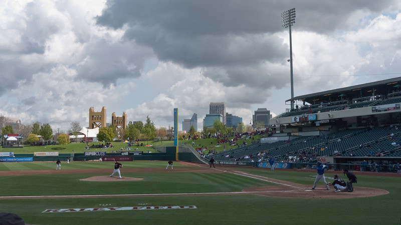 Baseball on a day of scattered showers.