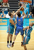 Anthony Petrie gets a forearm on the shot of Kirk Penney - Blaze v Breakers 31-12-2009