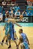 Anthony Petrie reaches for the hoop - Blaze v Breakers 31-12-2009