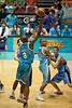 Ayinde Ubaka shoots around Kirk Penney - Blaze v Breakers 31-12-2009