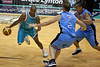 Ayinde Ubaka evades the help defence from veteran Tony Ronaldson - Blaze v Breakers 31-12-2009