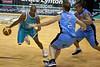 Ayinde Ubaka evades the help defence from veteran Tony Ronaldson - Blaze v Breakers 31-12-2009