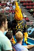 The Blaze mascot meets the crowd - Gold Coast Blaze v Cairns Taipans, 4 December 2009.