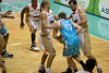 Anthony Petrie encounters the double team of Dusty Rychart and Ian Crosswhite - Gold Coast Blaze v Cairns Taipans, 4 December 2009.