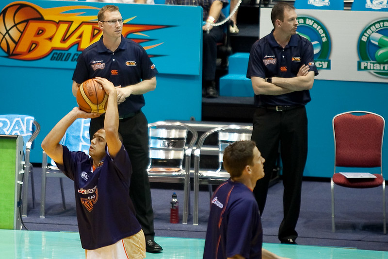 On the left, Taipans Assistant Coach Mick Downer - Gold Coast Blaze v Cairns Taipans, 4 December 2009.