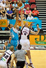 Craig Bradshaw jumps against Luke Schenscher - Gold Coast Blaze v Perth Wildcats Semi-final G2, 23 February 2010. After being down for most of the game, the Wildcats came back in the final minutes to score an 82-78 win. Wildcat import Kevin Lisch scored 11 of his 18 points in the final five minutes to help his team to the win.