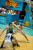 Martin Cattalini seeks a height advantage aginst Adam Gibson in the low post - Gold Coast Blaze v Perth Wildcats Semi-final G2, 23 February 2010. After being down for most of the game, the Wildcats came back in the final minutes to score an 82-78 win. Wildcat import Kevin Lisch scored 11 of his 18 points in the final five minutes to help his team to the win.