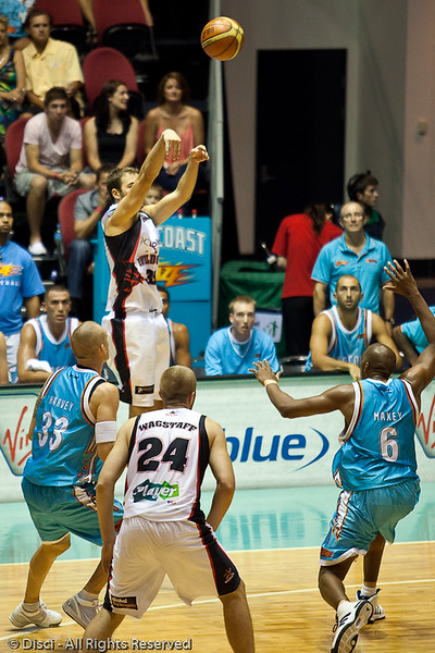 Drew Williamson shoots from deep - Gold Coast Blaze v Perth Wildcats Semi-final G2, 23 February 2010. After being down for most of the game, the Wildcats came back in the final minutes to score an 82-78 win. Wildcat import Kevin Lisch scored 11 of his 18 points in the final five minutes to help his team to the win.