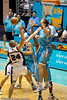 Greg Vanderjagt sends back the inside shot of Jesse Wagstaff - Gold Coast Blaze v Perth Wildcats Semi-final G2, 23 February 2010. After being down for most of the game, the Wildcats came back in the final minutes to score an 82-78 win. Wildcat import Kevin Lisch scored 11 of his 18 points in the final five minutes to help his team to the win.