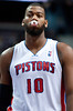 Oct 20, 2012; Auburn Hills, MI, USA; Detroit Pistons center Greg Monroe (10) during the game against the Charlotte Bobcats at The Palace. Mandatory Credit: Tim Fuller-US PRESSWIRE