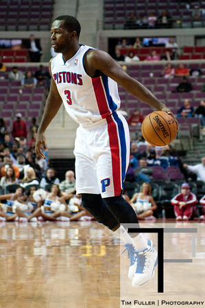 Oct 20, 2012; Auburn Hills, MI, USA; Detroit Pistons point guard Rodney Stuckey (3) during the game against the Charlotte Bobcats at The Palace. Detroit won 85-80.  Mandatory Credit: Tim Fuller-US PRESSWIRE